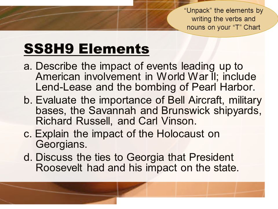 SS8H9 Elements a. Describe the impact of events leading up to American involvement in World War II; include Lend-Lease and the bombing of Pearl Harbor