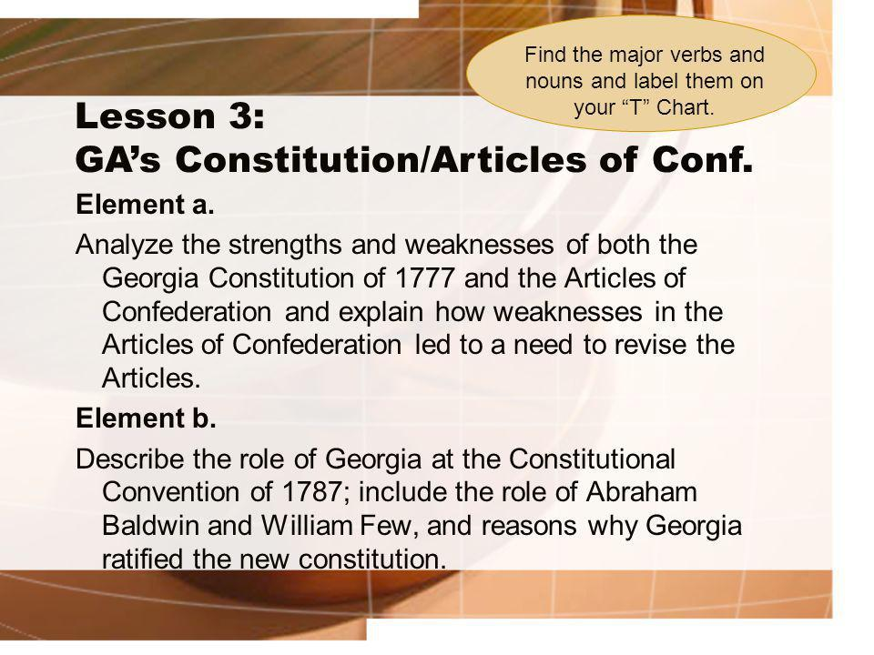 Lesson 3: GA's Constitution/Articles of Conf. Element a. Analyze the strengths and weaknesses of both the Georgia Constitution of 1777 and the Article