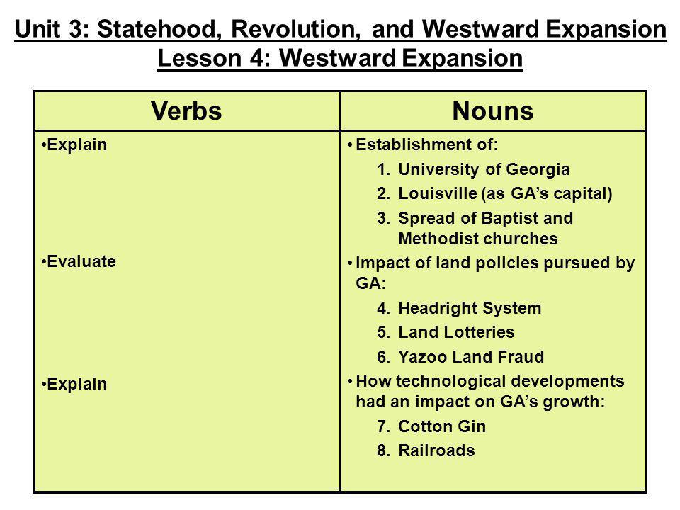Establishment of: 1.University of Georgia 2.Louisville (as GA's capital) 3.Spread of Baptist and Methodist churches Impact of land policies pursued by
