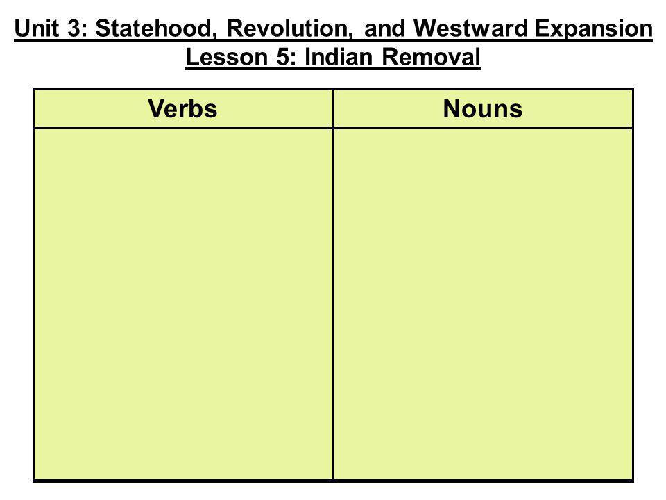 Unit 3: Statehood, Revolution, and Westward Expansion Lesson 5: Indian Removal NounsVerbs