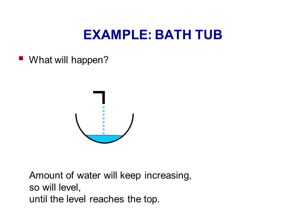 EXAMPLE: BATH TUB  What will happen? Amount of water will keep increasing, so will level, until the level reaches the top.
