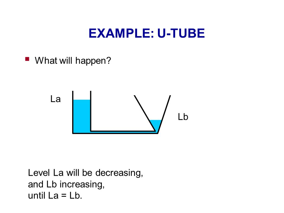 EXAMPLE: U-TUBE  What will happen.