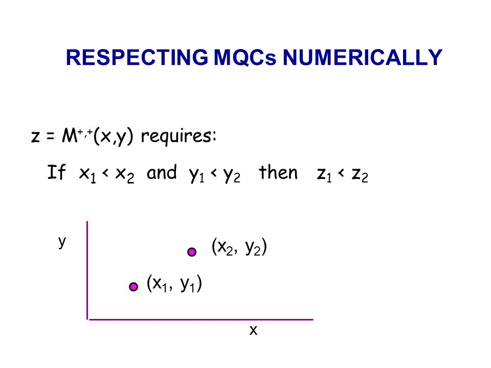 RESPECTING MQCs NUMERICALLY z = M +,+ (x,y) requires: If x 1 < x 2 and y 1 < y 2 then z 1 < z 2 (x 2, y 2 ) (x 1, y 1 ) x y