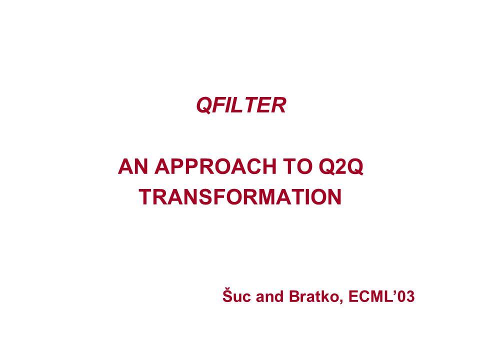QFILTER AN APPROACH TO Q2Q TRANSFORMATION Šuc and Bratko, ECML'03