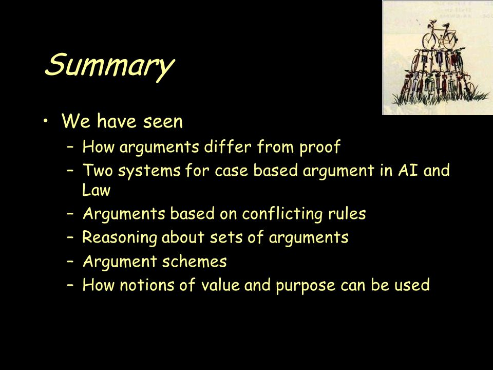 Summary We have seen –How arguments differ from proof –Two systems for case based argument in AI and Law –Arguments based on conflicting rules –Reasoning about sets of arguments –Argument schemes –How notions of value and purpose can be used