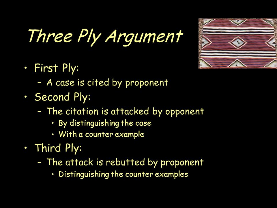 Three Ply Argument First Ply: –A case is cited by proponent Second Ply: –The citation is attacked by opponent By distinguishing the case With a counter example Third Ply: –The attack is rebutted by proponent Distinguishing the counter examples
