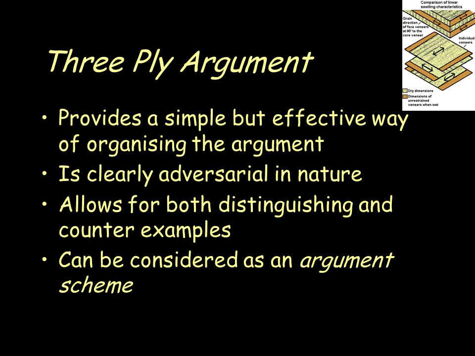 Three Ply Argument Provides a simple but effective way of organising the argument Is clearly adversarial in nature Allows for both distinguishing and counter examples Can be considered as an argument scheme