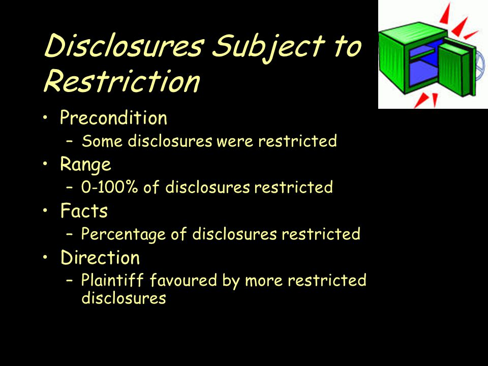 Disclosures Subject to Restriction Precondition –Some disclosures were restricted Range –0-100% of disclosures restricted Facts –Percentage of disclosures restricted Direction –Plaintiff favoured by more restricted disclosures