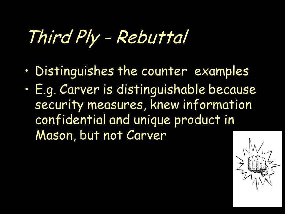 Third Ply - Rebuttal Distinguishes the counter examples E.g.