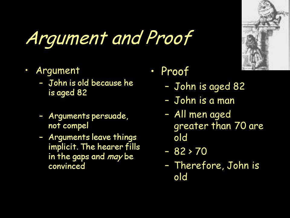 Argument and Proof Argument –John is old because he is aged 82 –Arguments persuade, not compel –Arguments leave things implicit.