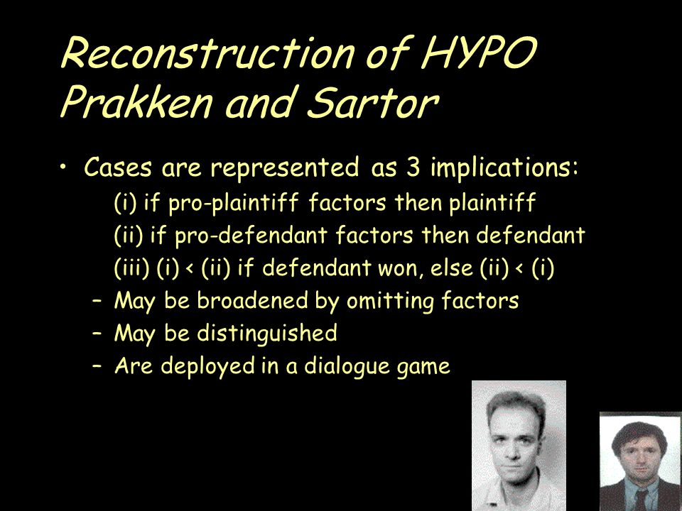 Reconstruction of HYPO Prakken and Sartor Cases are represented as 3 implications: (i) if pro-plaintiff factors then plaintiff (ii) if pro-defendant factors then defendant (iii) (i) < (ii) if defendant won, else (ii) < (i) –May be broadened by omitting factors –May be distinguished –Are deployed in a dialogue game
