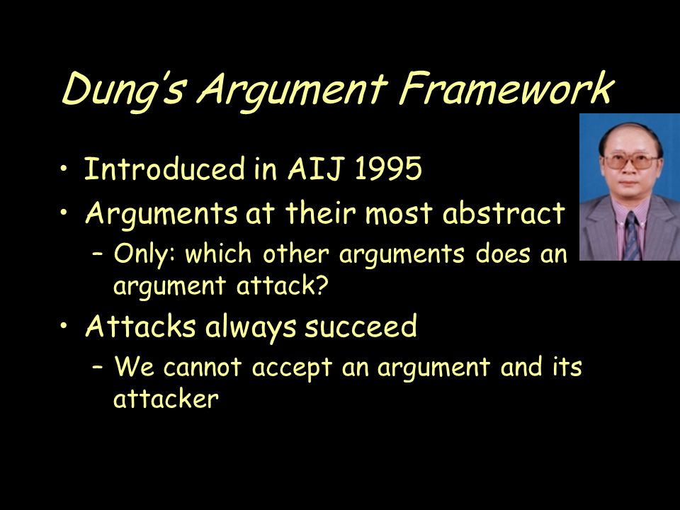 Dung's Argument Framework Introduced in AIJ 1995 Arguments at their most abstract –Only: which other arguments does an argument attack.