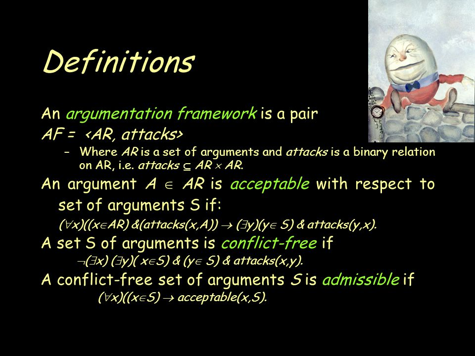 Definitions An argumentation framework is a pair AF = –Where AR is a set of arguments and attacks is a binary relation on AR, i.e.
