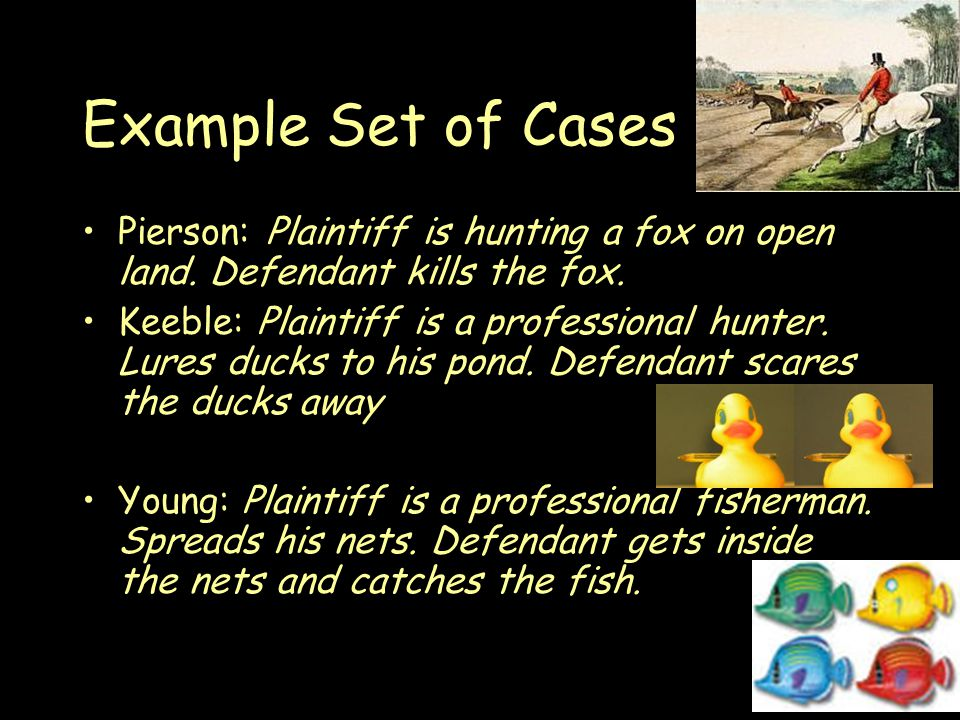 Example Set of Cases Pierson: Plaintiff is hunting a fox on open land.