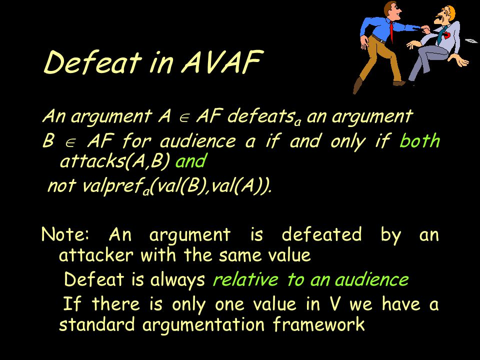 Defeat in AVAF An argument A  AF defeats a an argument B  AF for audience a if and only if both attacks(A,B) and not valpref a (val(B),val(A)).