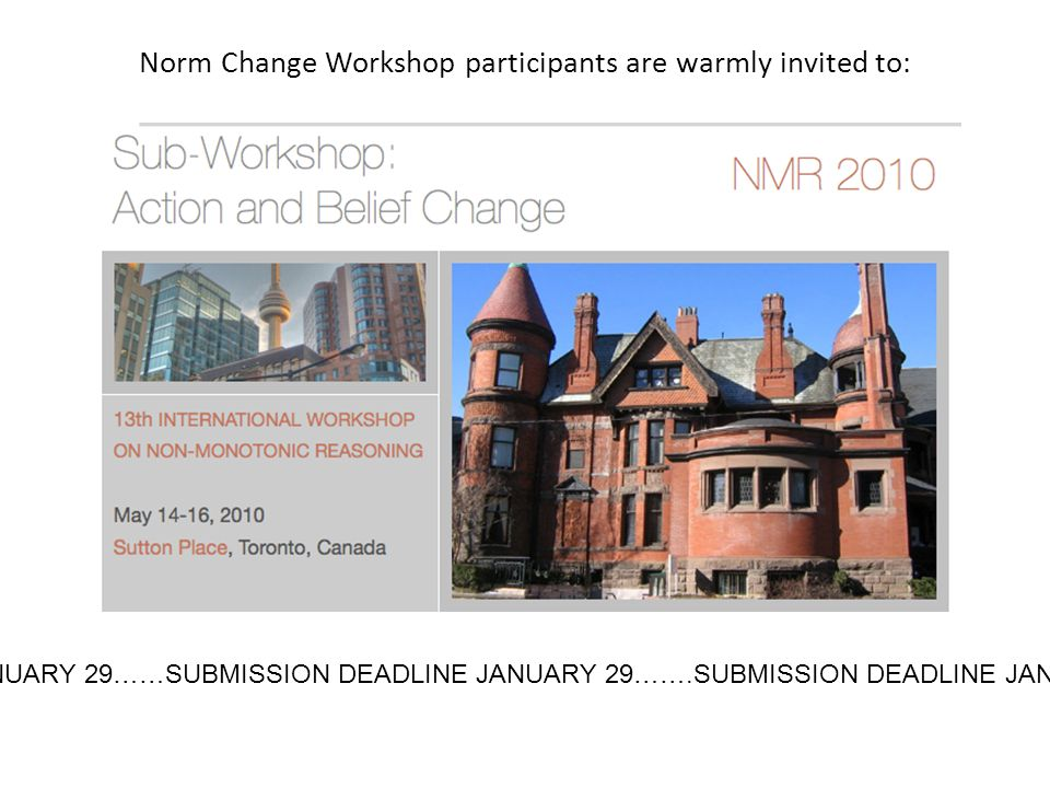 Norm Change Workshop participants are warmly invited to: JANUARY 29……SUBMISSION DEADLINE JANUARY 29…….SUBMISSION DEADLINE JANUA