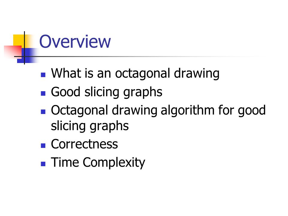 Overview What is an octagonal drawing Good slicing graphs Octagonal drawing algorithm for good slicing graphs Correctness Time Complexity