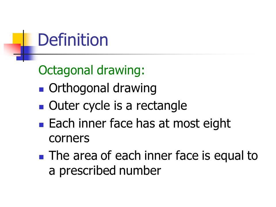 Definition Octagonal drawing: Orthogonal drawing Outer cycle is a rectangle Each inner face has at most eight corners The area of each inner face is equal to a prescribed number