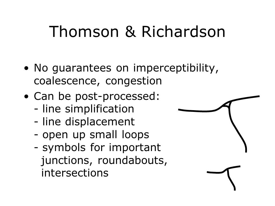 Thomson & Richardson No guarantees on imperceptibility, coalescence, congestion Can be post-processed: - line simplification - line displacement - ope