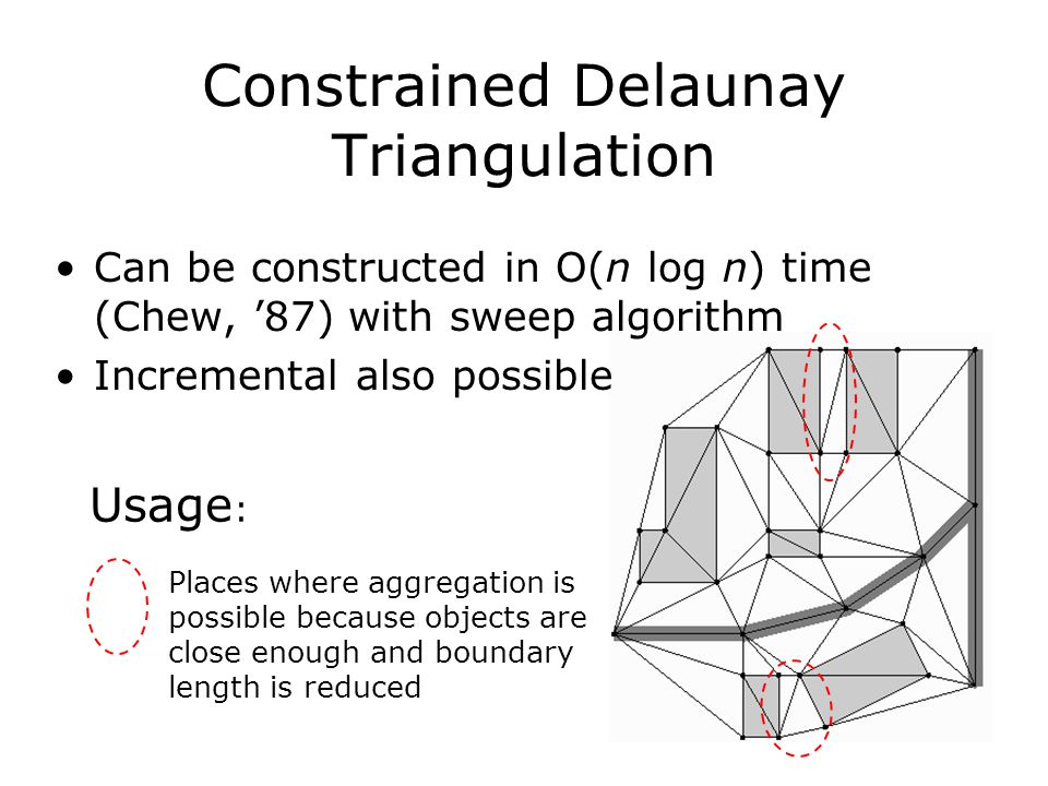 Places where aggregation is possible because objects are close enough and boundary length is reduced Usage : Can be constructed in O(n log n) time (Ch