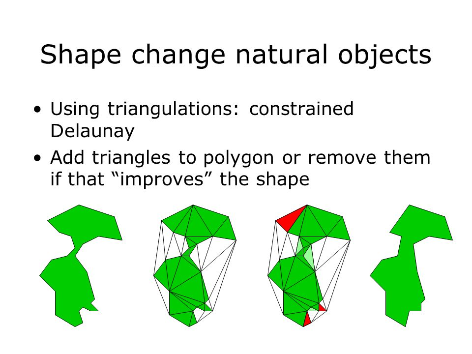 "Shape change natural objects Using triangulations: constrained Delaunay Add triangles to polygon or remove them if that ""improves"" the shape"