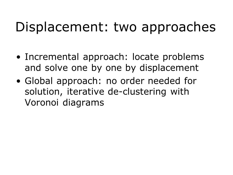 Displacement: two approaches Incremental approach: locate problems and solve one by one by displacement Global approach: no order needed for solution, iterative de-clustering with Voronoi diagrams