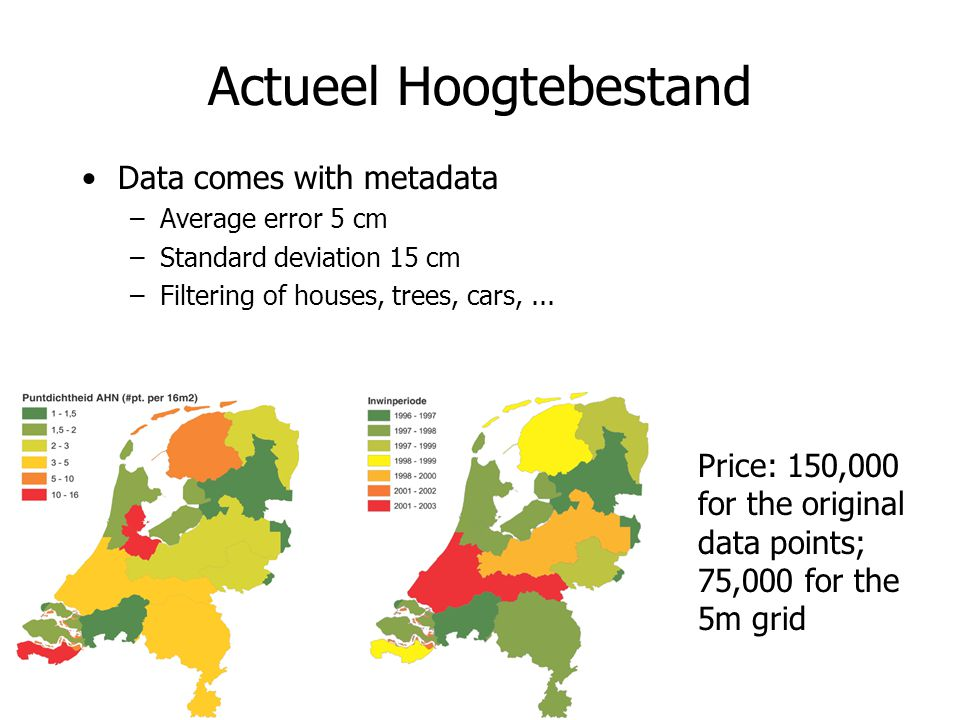 Actueel Hoogtebestand Data comes with metadata –Average error 5 cm –Standard deviation 15 cm –Filtering of houses, trees, cars,... Price: 150,000 for