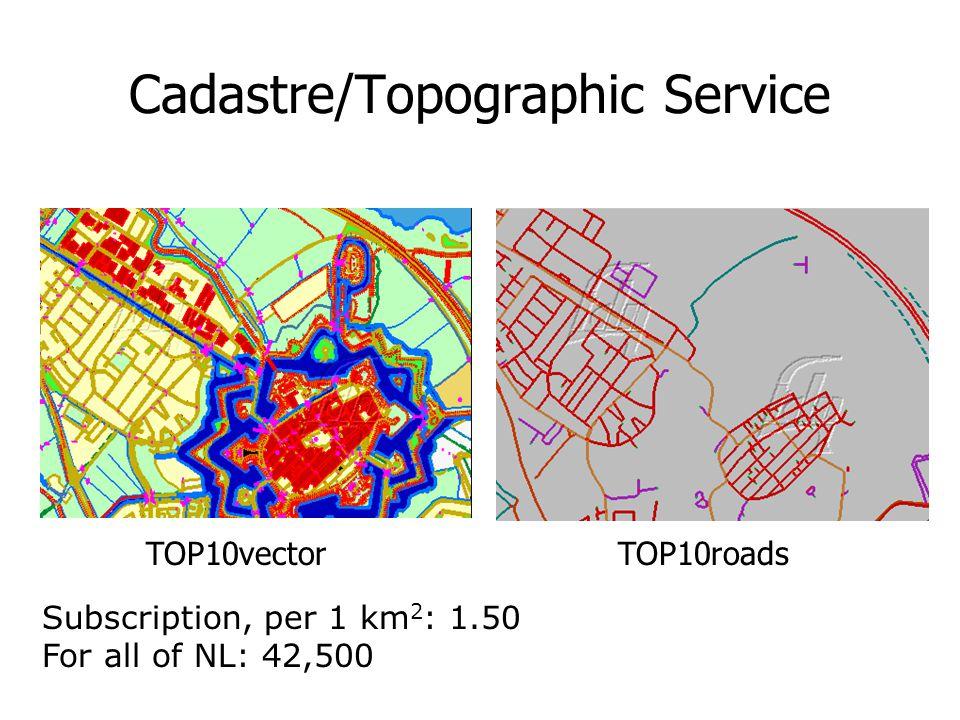 Cadastre/Topographic Service TOP10vectorTOP10roads Subscription, per 1 km 2 : 1.50 For all of NL: 42,500