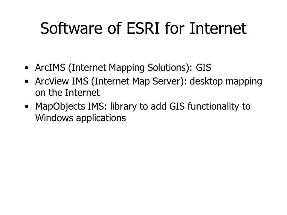 Software of ESRI for Internet ArcIMS (Internet Mapping Solutions): GIS ArcView IMS (Internet Map Server): desktop mapping on the Internet MapObjects I