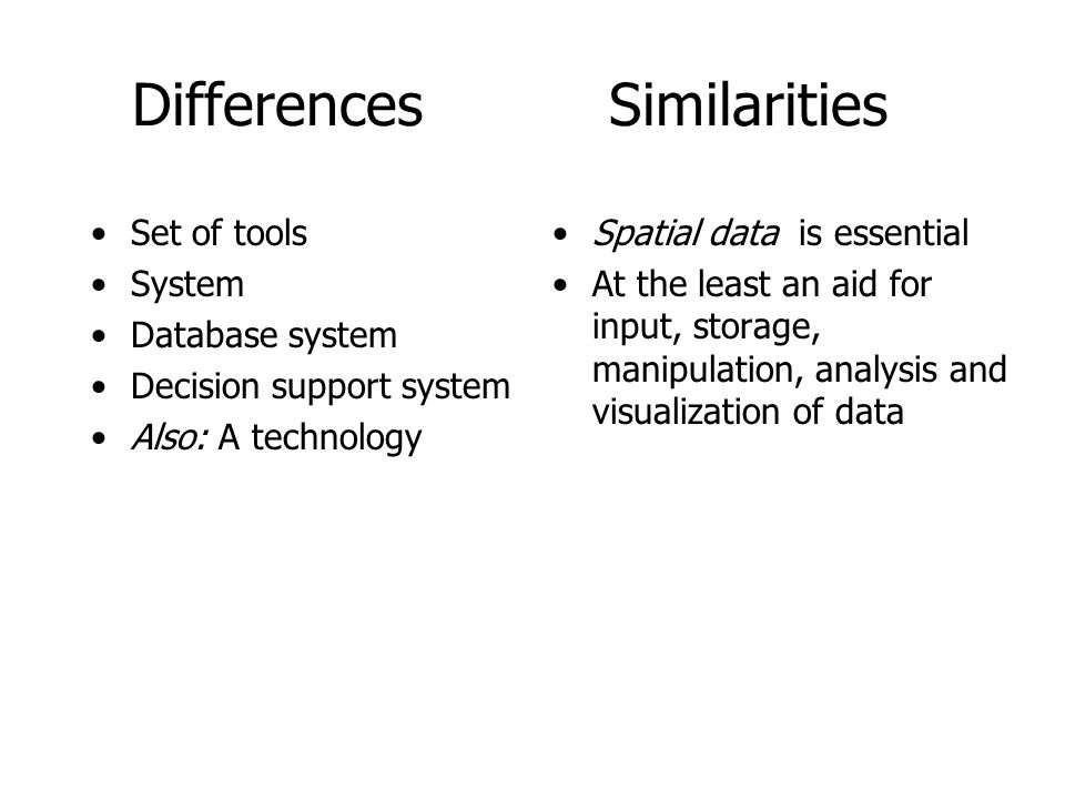 Differences Similarities Set of tools System Database system Decision support system Also: A technology Spatial data is essential At the least an aid for input, storage, manipulation, analysis and visualization of data