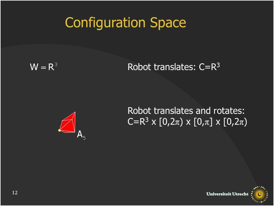Robot translates: C=R 3 Robot translates and rotates: C=R 3 x [0,2 π ) x [0, π ] x [0,2 π ) Configuration Space 12