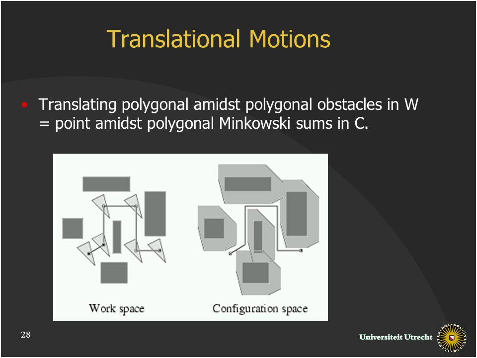 Translational Motions Translating polygonal amidst polygonal obstacles in W = point amidst polygonal Minkowski sums in C.