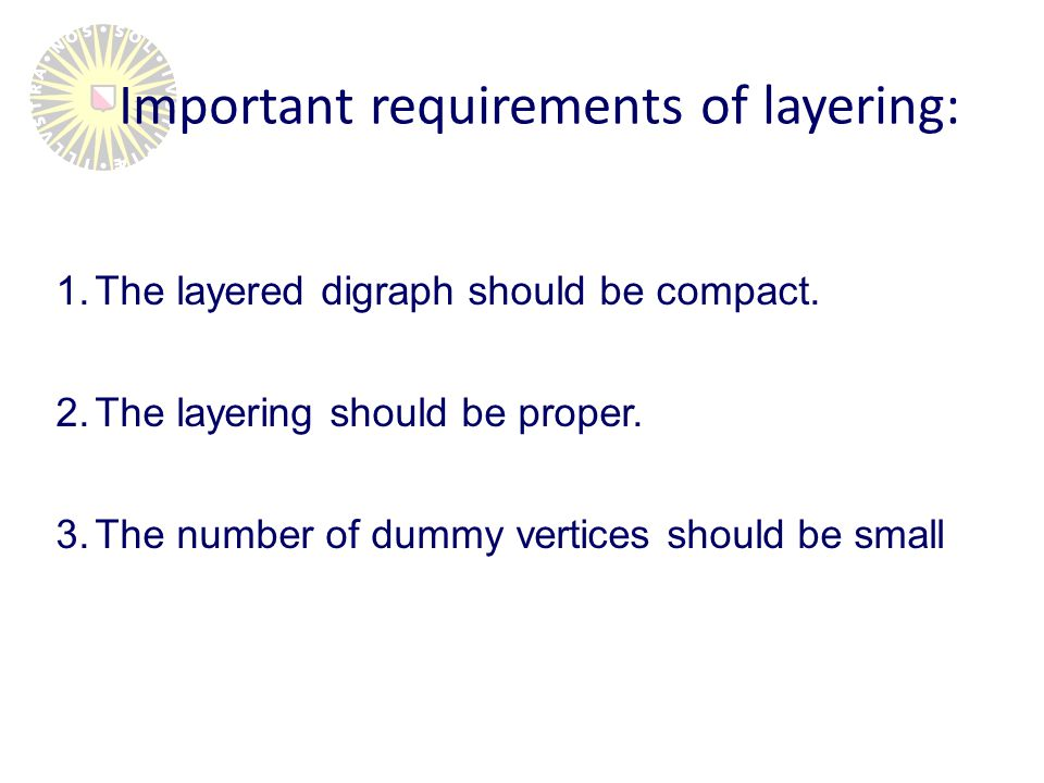 The layering algorithm: 1.No labels are set 2.Assign labels (integer), such that s < v < t 3.Assign vertices to a layer, such that layer of t <= v <= s