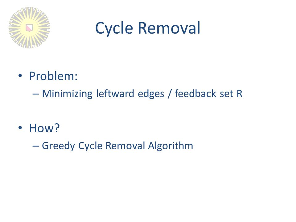 Cycle Removal Problem: – Minimizing leftward edges / feedback set R How.