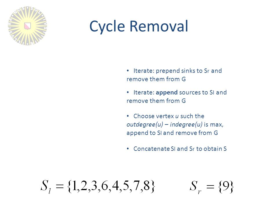 Cycle Removal Iterate: prepend sinks to S r and remove them from G Iterate: append sources to S l and remove them from G Choose vertex u such the outdegree(u) – indegree(u) is max, append to S l and remove from G Concatenate S l and S r to obtain S