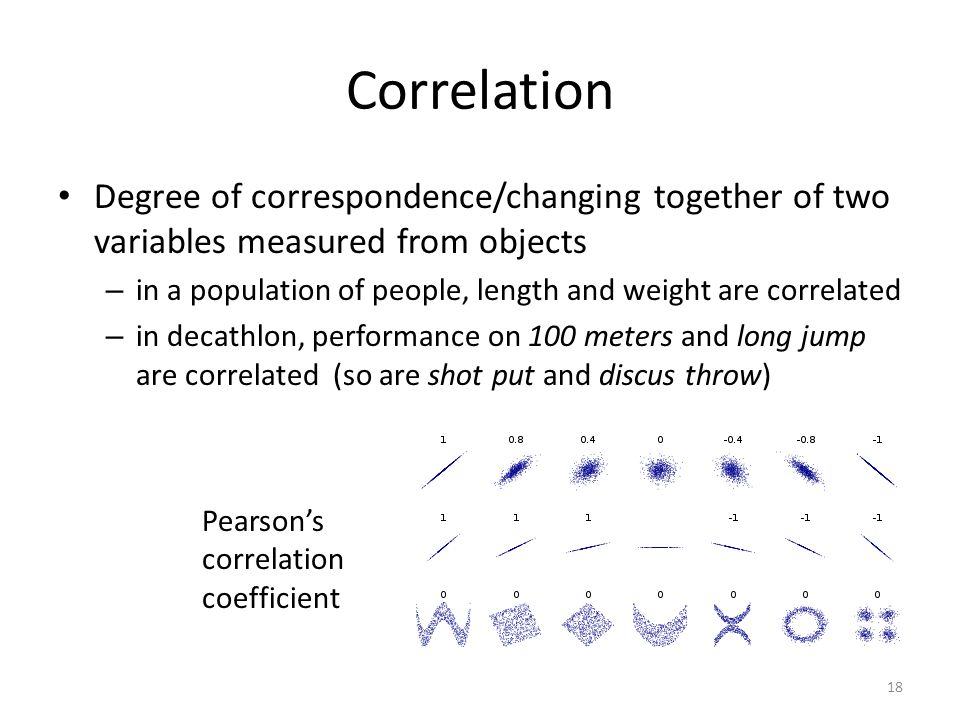 Correlation Degree of correspondence/changing together of two variables measured from objects – in a population of people, length and weight are correlated – in decathlon, performance on 100 meters and long jump are correlated (so are shot put and discus throw) Pearson's correlation coefficient 18