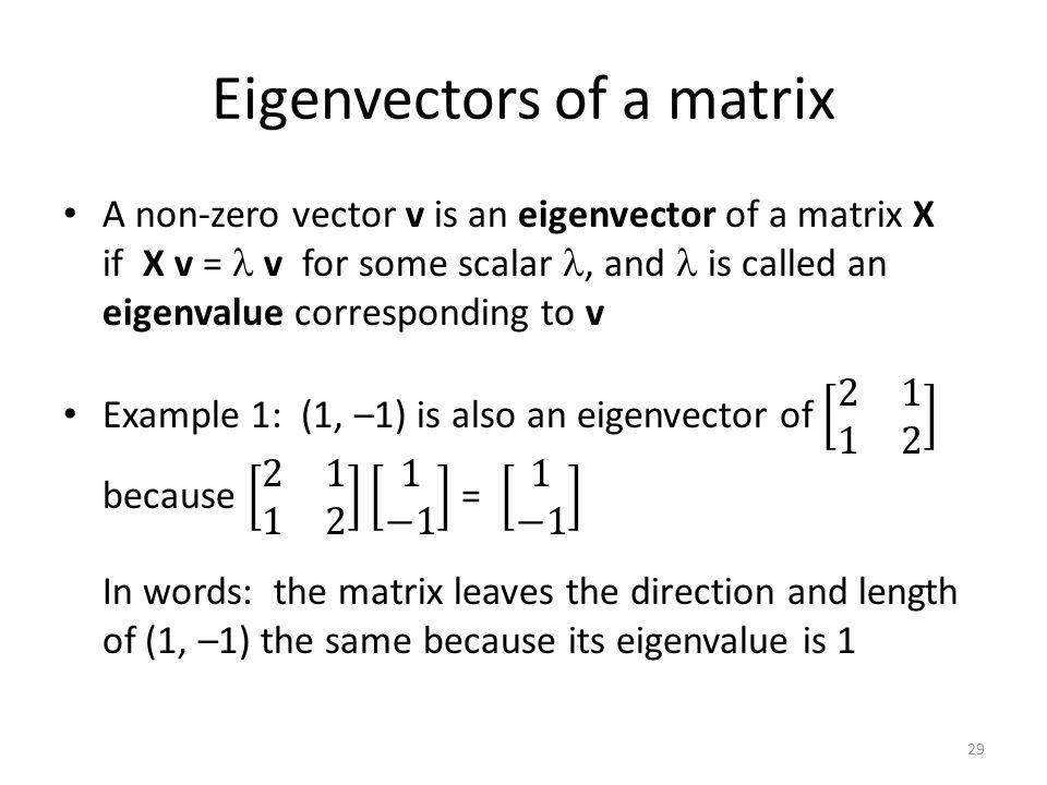 Eigenvectors of a matrix 29