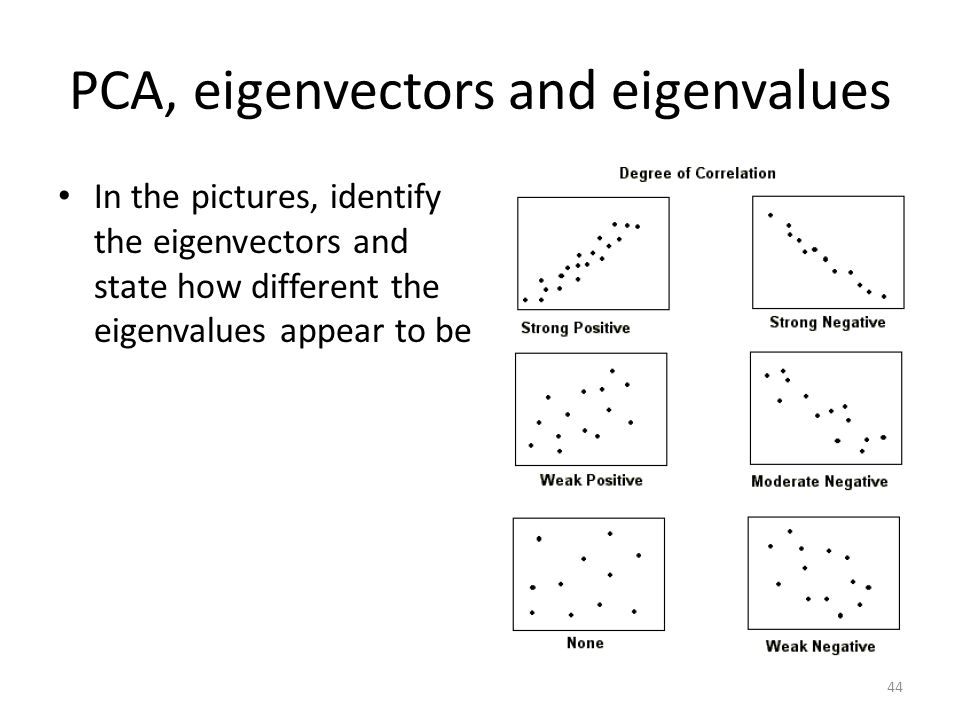PCA, eigenvectors and eigenvalues In the pictures, identify the eigenvectors and state how different the eigenvalues appear to be 44