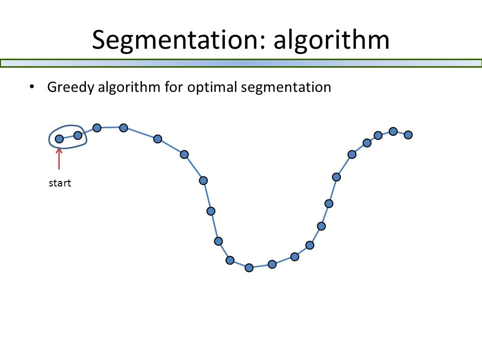 Segmentation: algorithm Greedy algorithm for optimal segmentation start