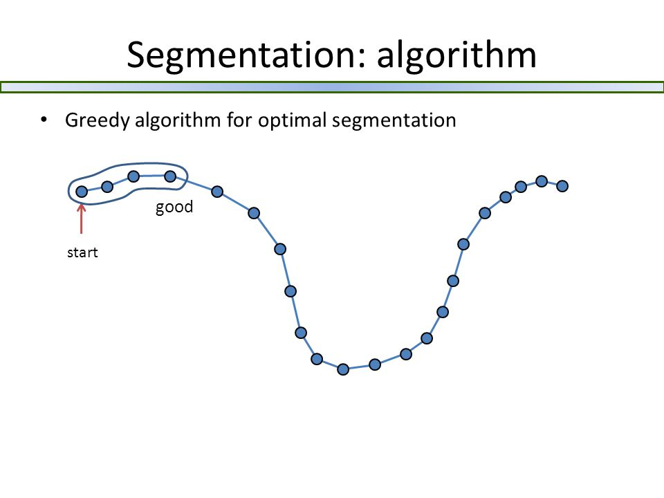 Segmentation: algorithm Greedy algorithm for optimal segmentation start good