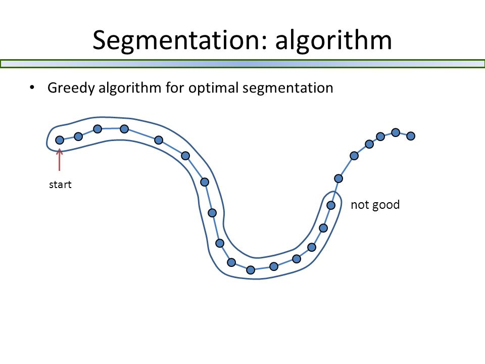 Segmentation: algorithm Greedy algorithm for optimal segmentation start not good