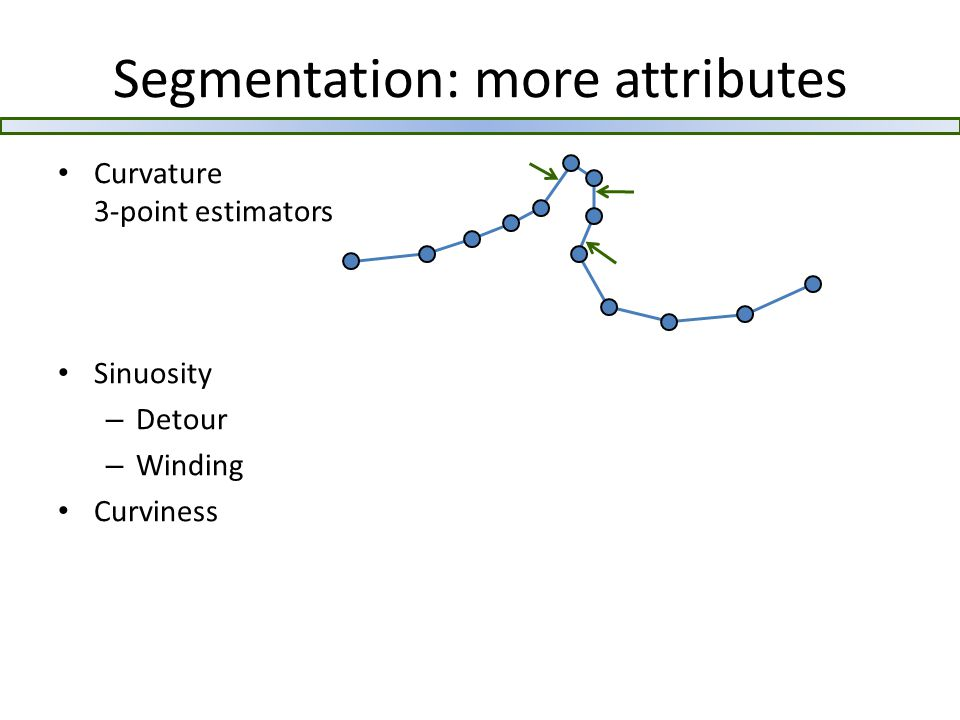 Segmentation: more attributes Curvature 3-point estimators Sinuosity – Detour – Winding Curviness