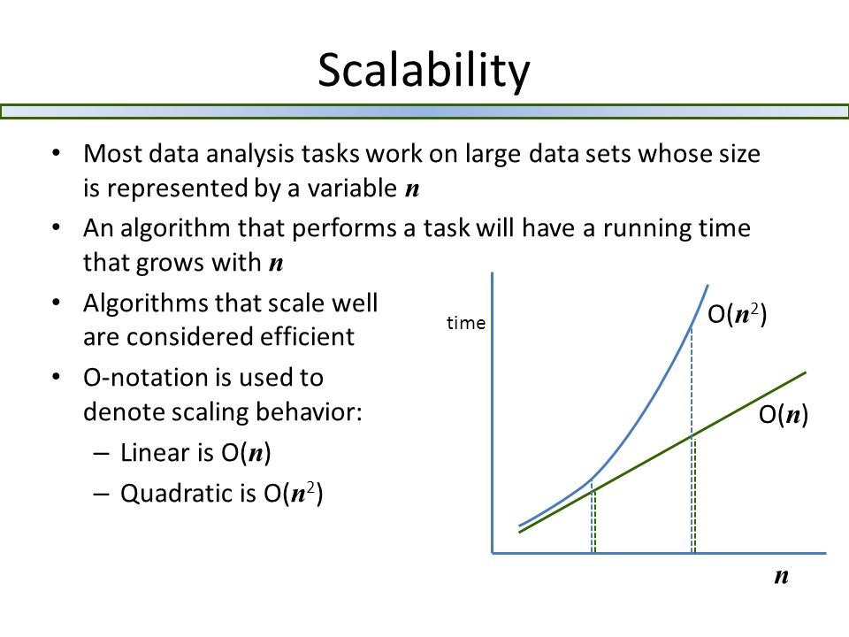 Scalability Most data analysis tasks work on large data sets whose size is represented by a variable n An algorithm that performs a task will have a running time that grows with n Algorithms that scale well are considered efficient O-notation is used to denote scaling behavior: – Linear is O( n ) – Quadratic is O( n 2 ) n time O( n 2 ) O( n )