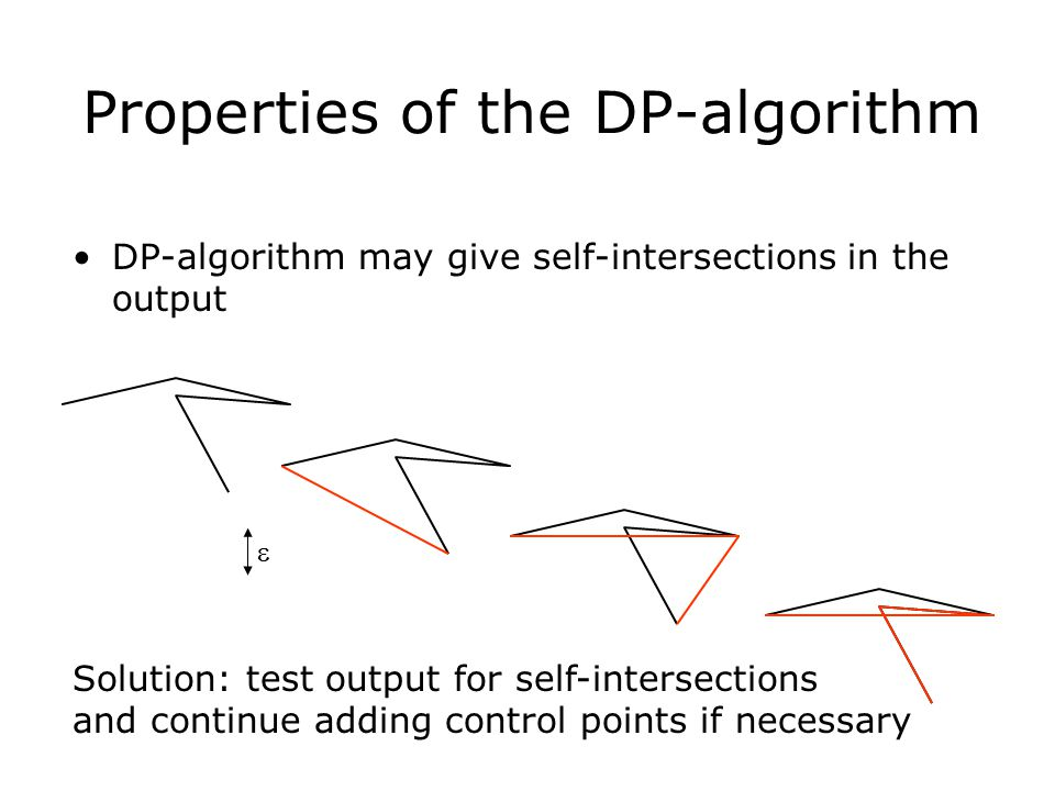Properties of the DP-algorithm DP-algorithm may give self-intersections in the output  Solution: test output for self-intersections and continue addi