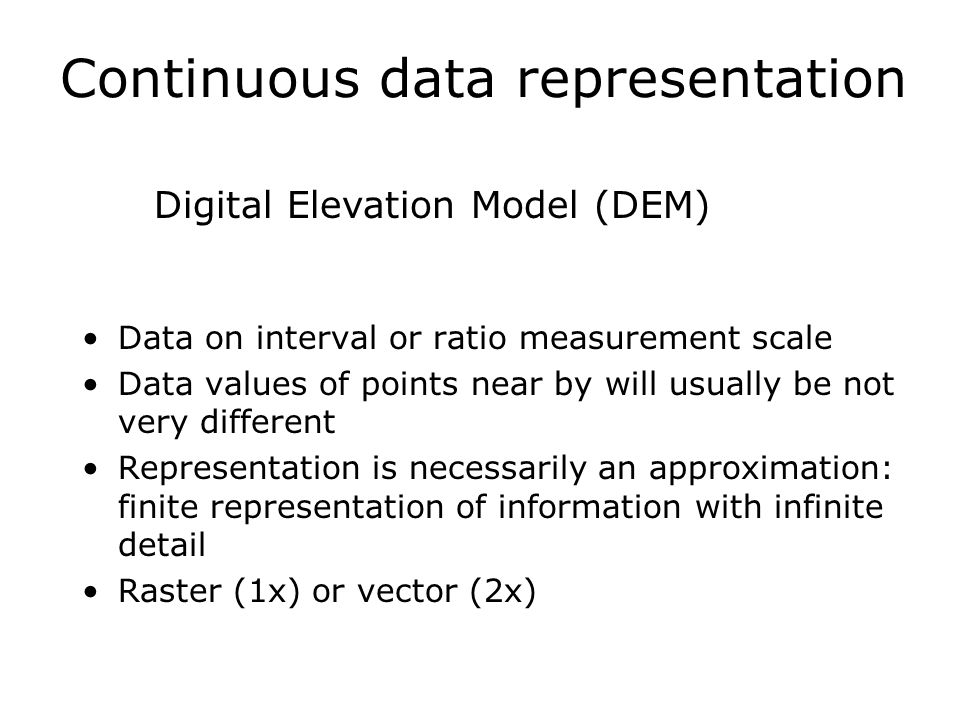 Continuous data representation Data on interval or ratio measurement scale Data values of points near by will usually be not very different Representa
