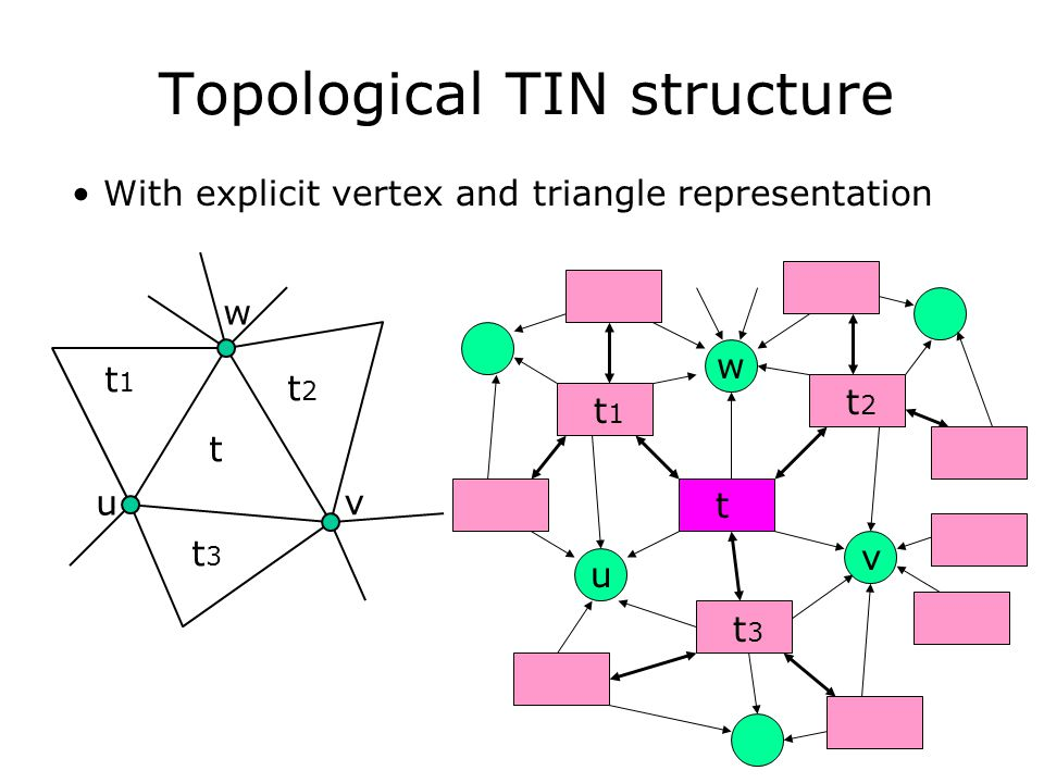 Topological TIN structure t t1t1 t2t2 t3t3 u v w With explicit vertex and triangle representation t t1t1 t2t2 t3t3 u v w