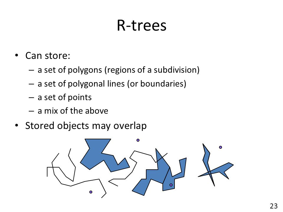 R-trees Can store: – a set of polygons (regions of a subdivision) – a set of polygonal lines (or boundaries) – a set of points – a mix of the above Stored objects may overlap 23