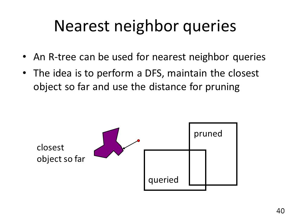 Nearest neighbor queries An R-tree can be used for nearest neighbor queries The idea is to perform a DFS, maintain the closest object so far and use the distance for pruning closest object so far queried pruned 40