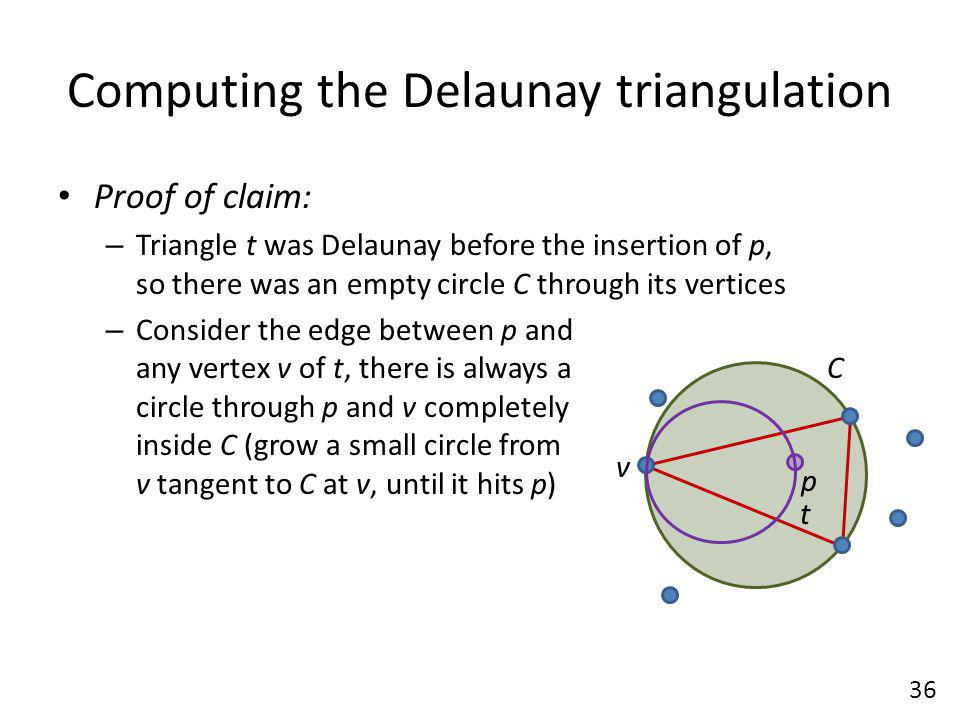 C Computing the Delaunay triangulation Proof of claim: – Triangle t was Delaunay before the insertion of p, so there was an empty circle C through its vertices – Consider the edge between p and any vertex v of t, there is always a circle through p and v completely inside C (grow a small circle from v tangent to C at v, until it hits p) 36 p t v