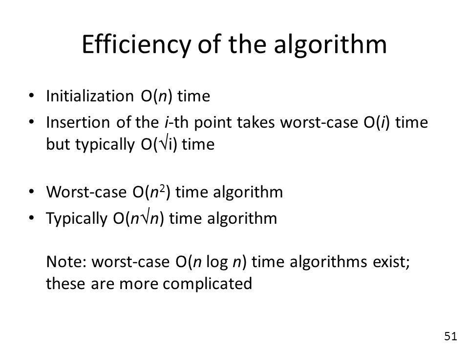 Efficiency of the algorithm Initialization O(n) time Insertion of the i-th point takes worst-case O(i) time but typically O(  i) time Worst-case O(n 2 ) time algorithm Typically O(n  n) time algorithm Note: worst-case O(n log n) time algorithms exist; these are more complicated 51